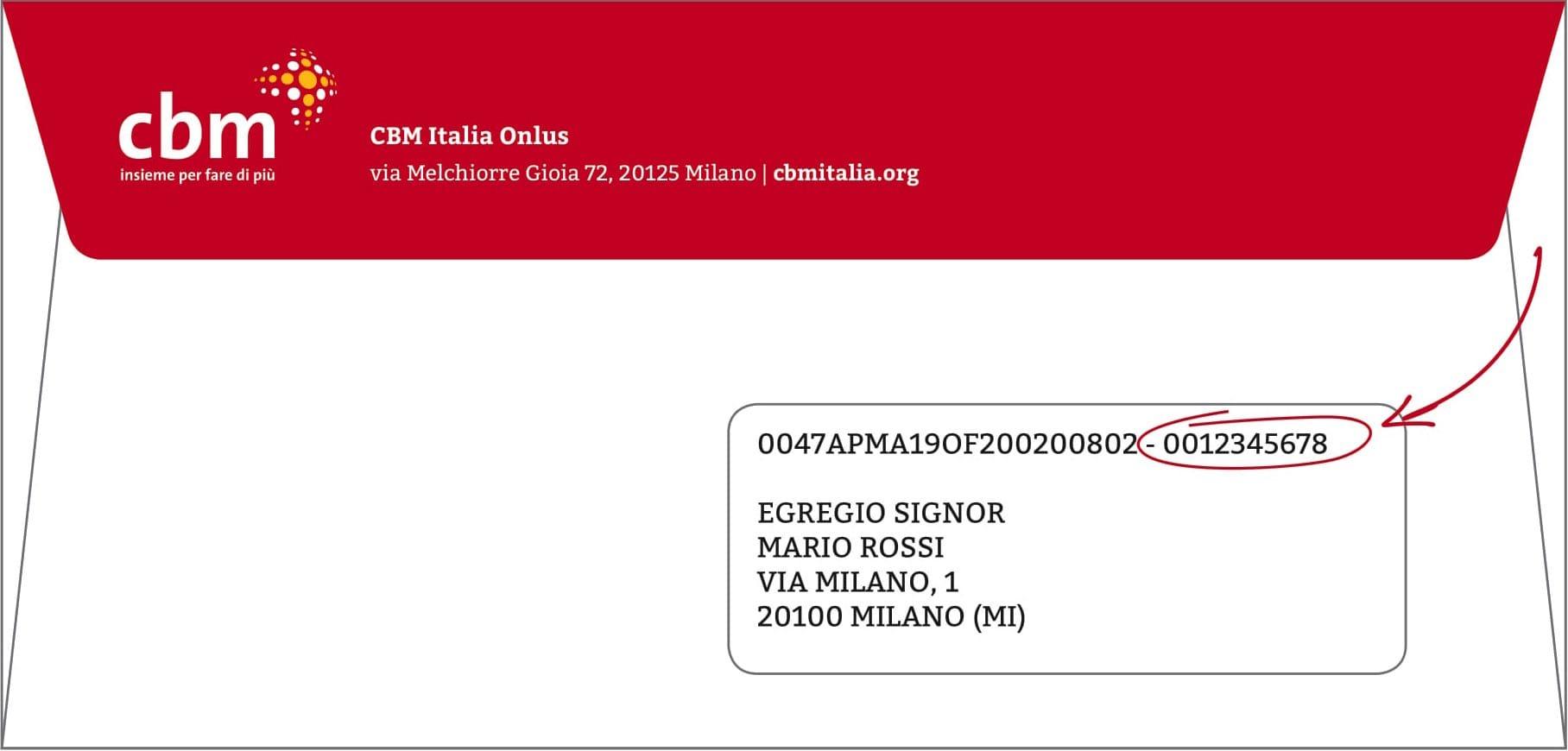 """Puoi trovare il tuo """"codice sostenitore"""" su tutte le comunicazioni che vengono inviate via posta da CBM Italia Onlus."""