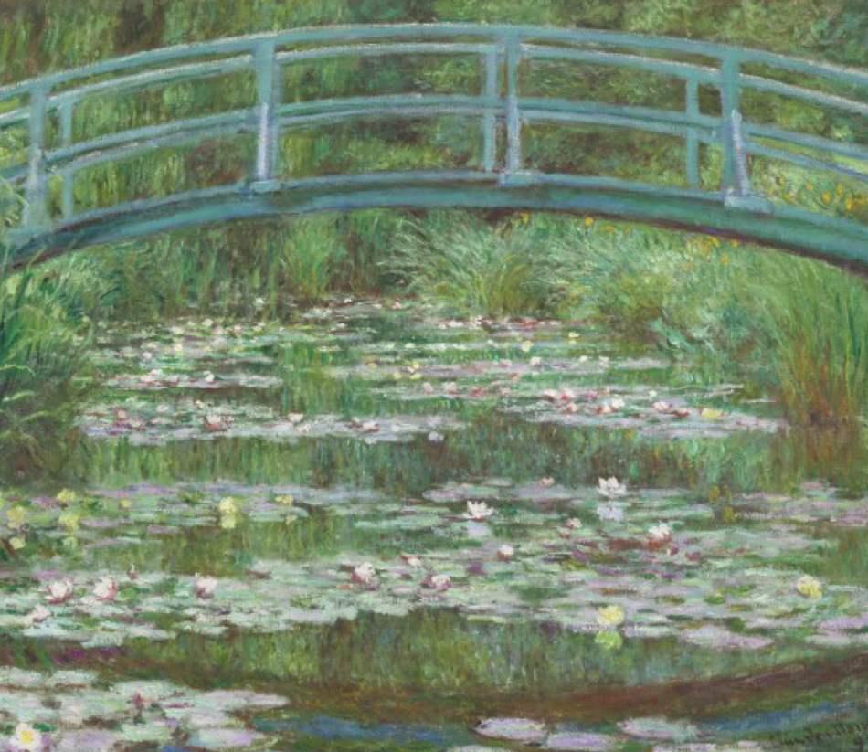 Ponte giapponese Monet, colori verdi, disegno nitido