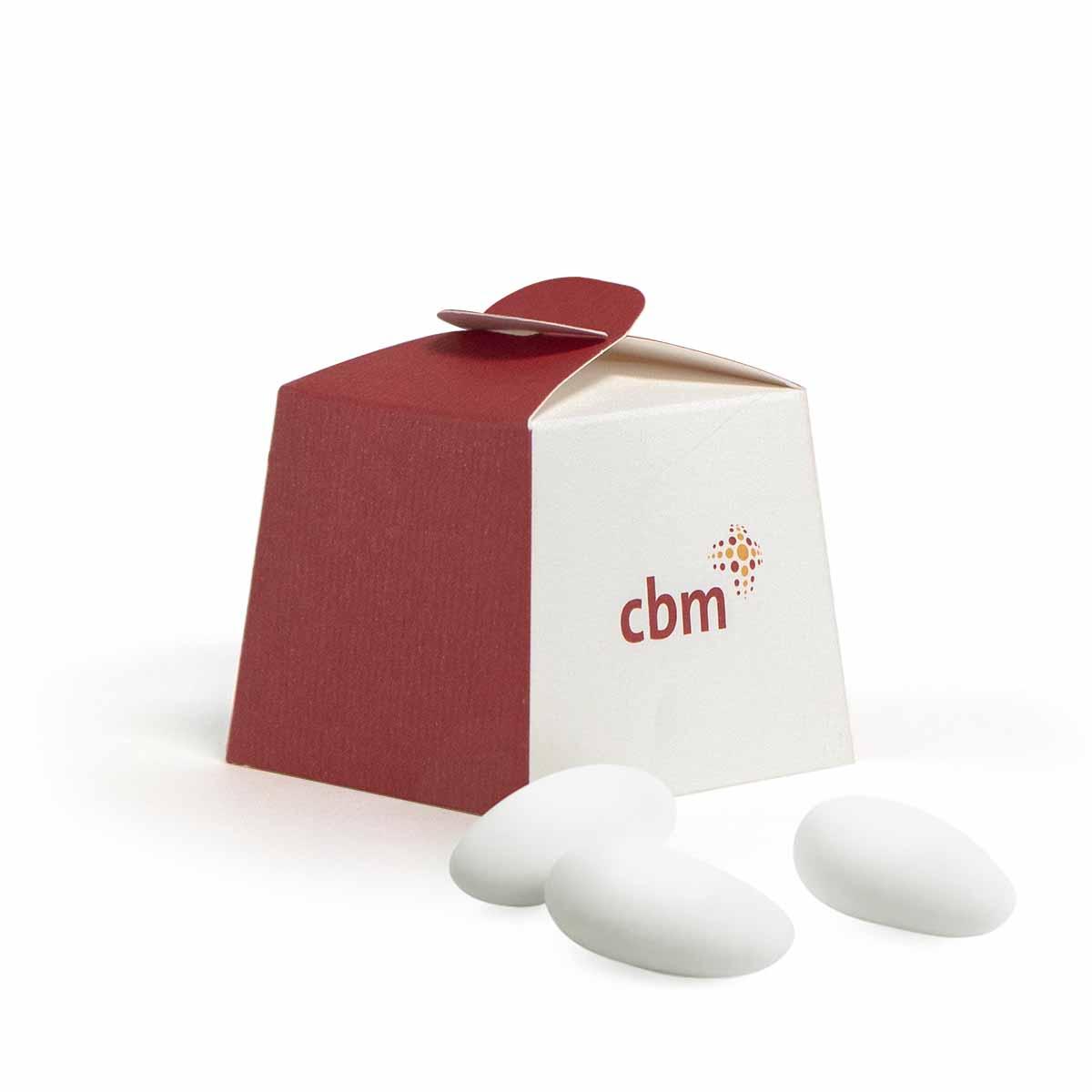033 scatolina porta confetti bianca e rossa