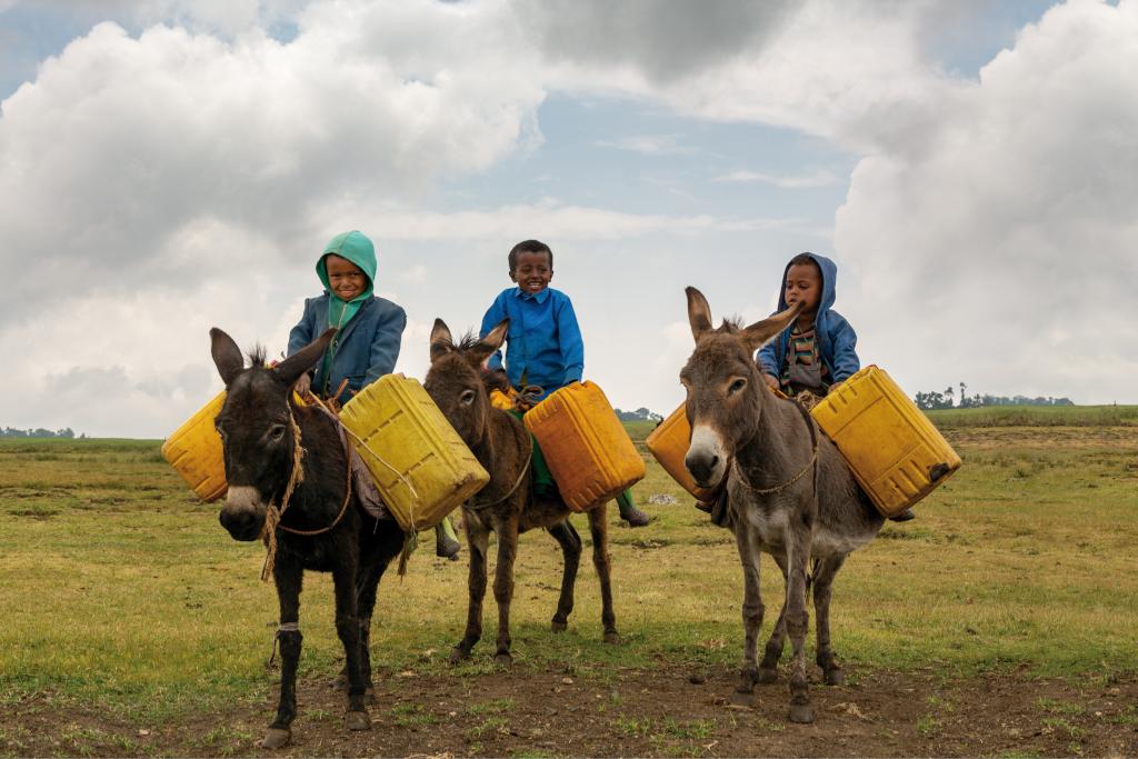 bambini che vanno a cercare dell'acqua con gli asinelli
