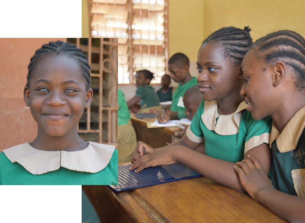 primo piano di bambina cieca in classe