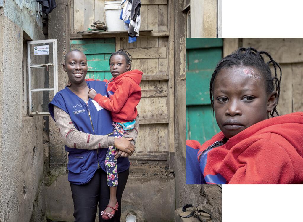 donna e primo piano di bambina in kenya